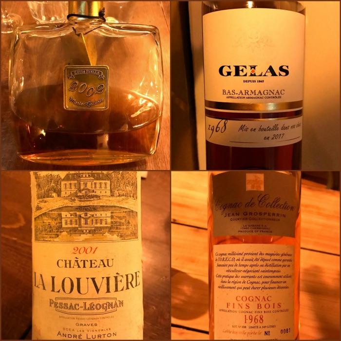 Bielle 2002 - Grosperrin Fins Bois 1968 - Pessac Léognan La Louvière 2001 - Gelas 1968